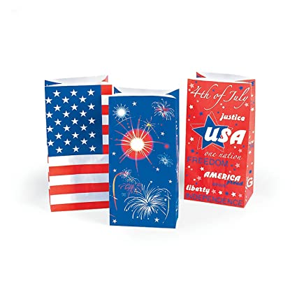 Amazoncom Paper Patriotic Usa Flag Bags 1 Dozen 4th Of July