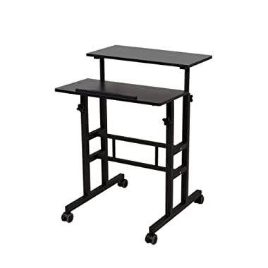 SDADI 2 Inches Carpet Wheels Mobile Standing Desk Stand Up Desk Height Adjustable Home Office Desk Standing Seating 2 Modes 3.0 Edition, Black