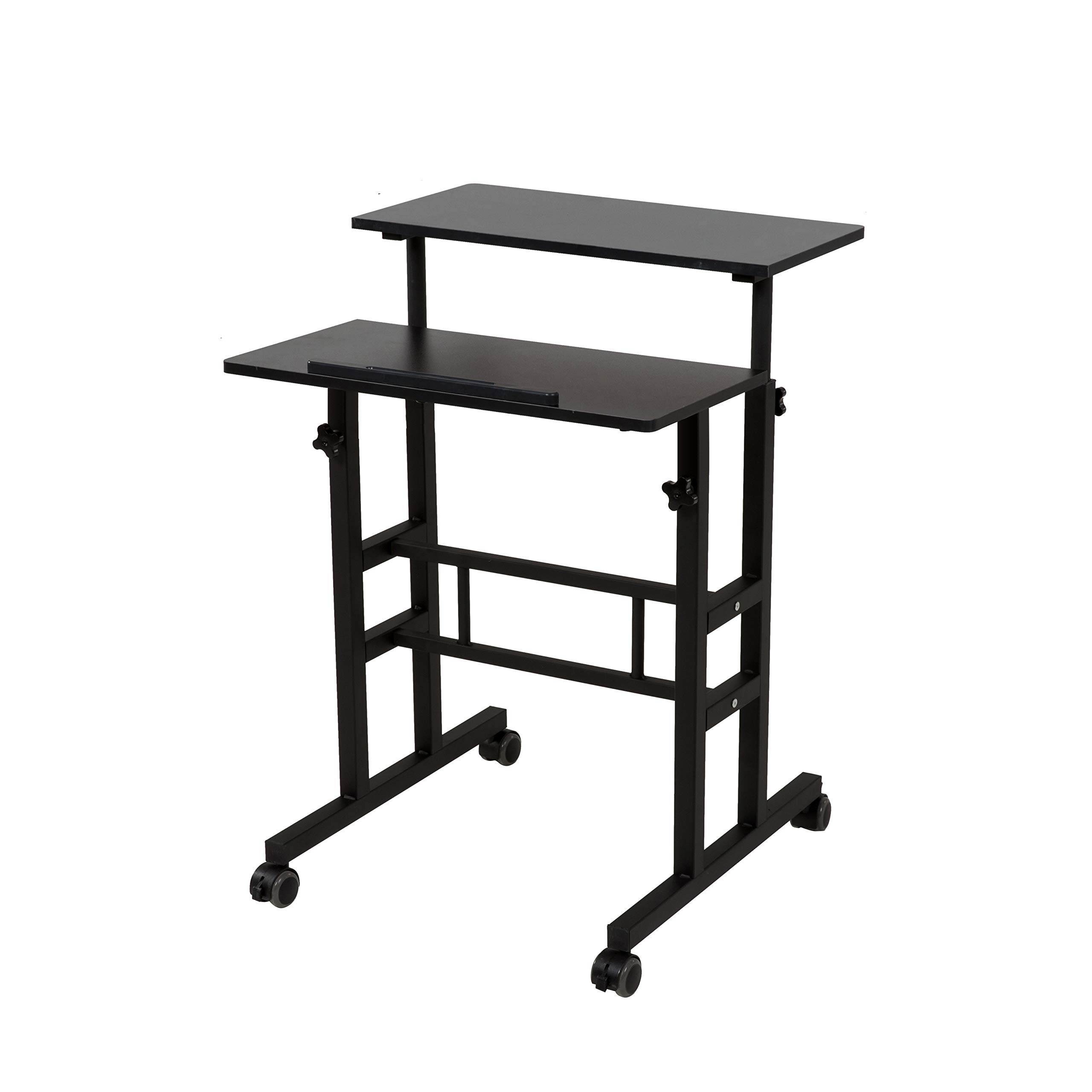SDADI 2 Inches Carpet Wheels Mobile Standing Desk Stand Up Desk Height Adjustable Home Office Desk with Standing and Seating 2 Modes 3.0 Edition, Black