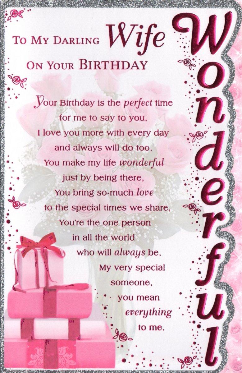 Wife Birthday Card To My Darling Wife On Your Birthday Amazonco