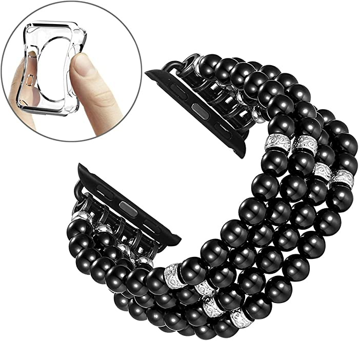 Fastgo Bracelet Compatible with Apple Watch Bands 42mm 44mm, Dressy Handmade Beaded Elastic Stretch Pearl Replacement Strap Women Girls for IWatch SE & Series 6/5/4/3/2/1 (Black-42/44mm)