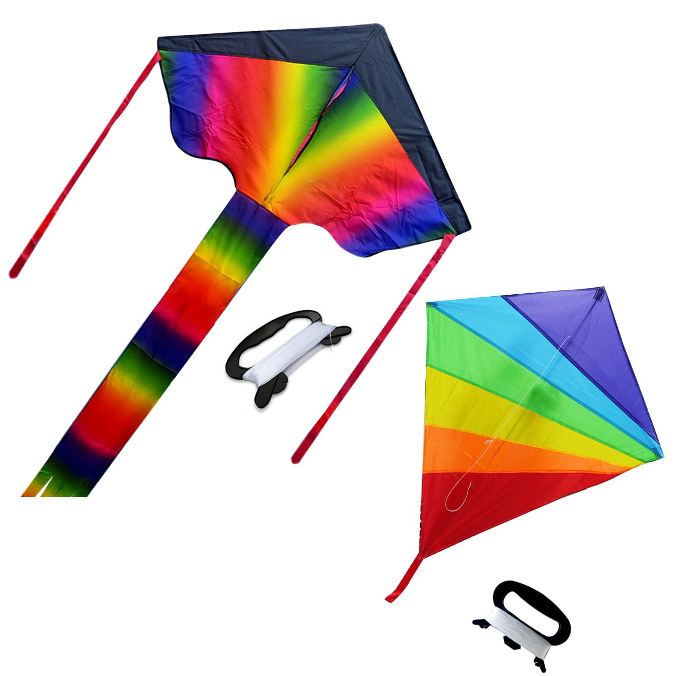 2 Pcs Rainbow Portable Kite Nylon & Polyester Material - Perfect Toy for Kids and Children Outdoor Games Activities - Fold-able Large 28 x 157 inches | Extra 328 Feet of Line