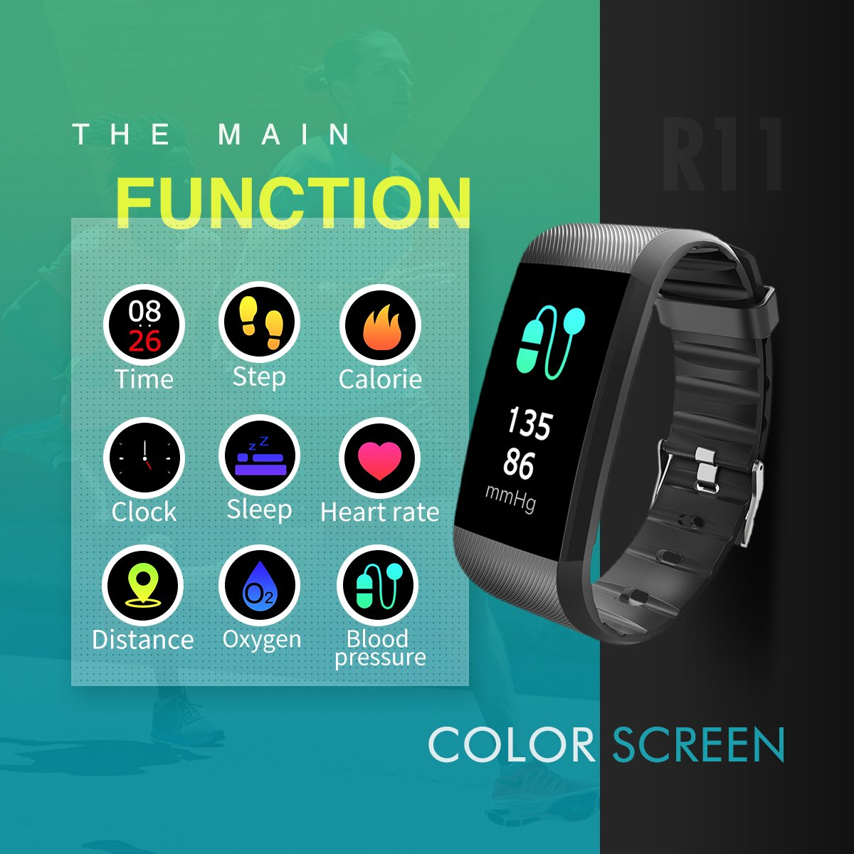 Ltd Activity Fitness Wristband R11 Pedometer for Bluetooth Android and iOS Activity Fitness Wristband R11 Pedometer for Bluetooth Android and iOS New Fitness Tracker Heart Rate Monitor R11-Purple IP67 Waterproof Smart Bracelet with Camera Remote Shoot