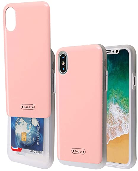save off 26d04 5171b iPhone X Case with Card Holder, Boost [Slide Back Wallet Case] Protective  Slim Fit Dual Layer Hidden 2 Credit Card Holder ID Slot Card Case for Apple  ...