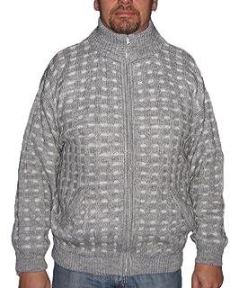 Alpakaandmore Men Turtleneck Cardigan Sweater Alpaca Wool Blue
