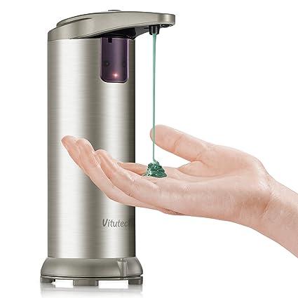 vitutech Dispensador de Jabón Automático, 210ml Dispensador de jabón automático en Acero Inoxidable con Sensor