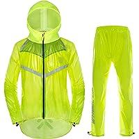 HnjPama Men's Cycling Skin Rain Coat Bicycle Jacket Pants Set Windproof Jacket Pants with Cap Cycling Rain Jacket