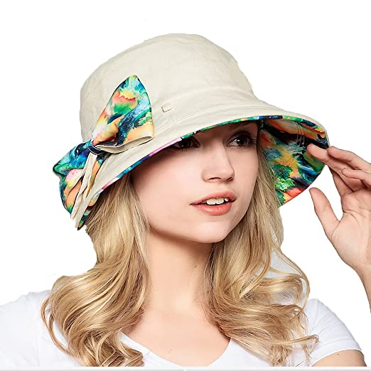 Maitose Trade  Women s Cotton Double Sided Wear Bucket Hat Beach Sun Cap  Beige 435c8cf3b675