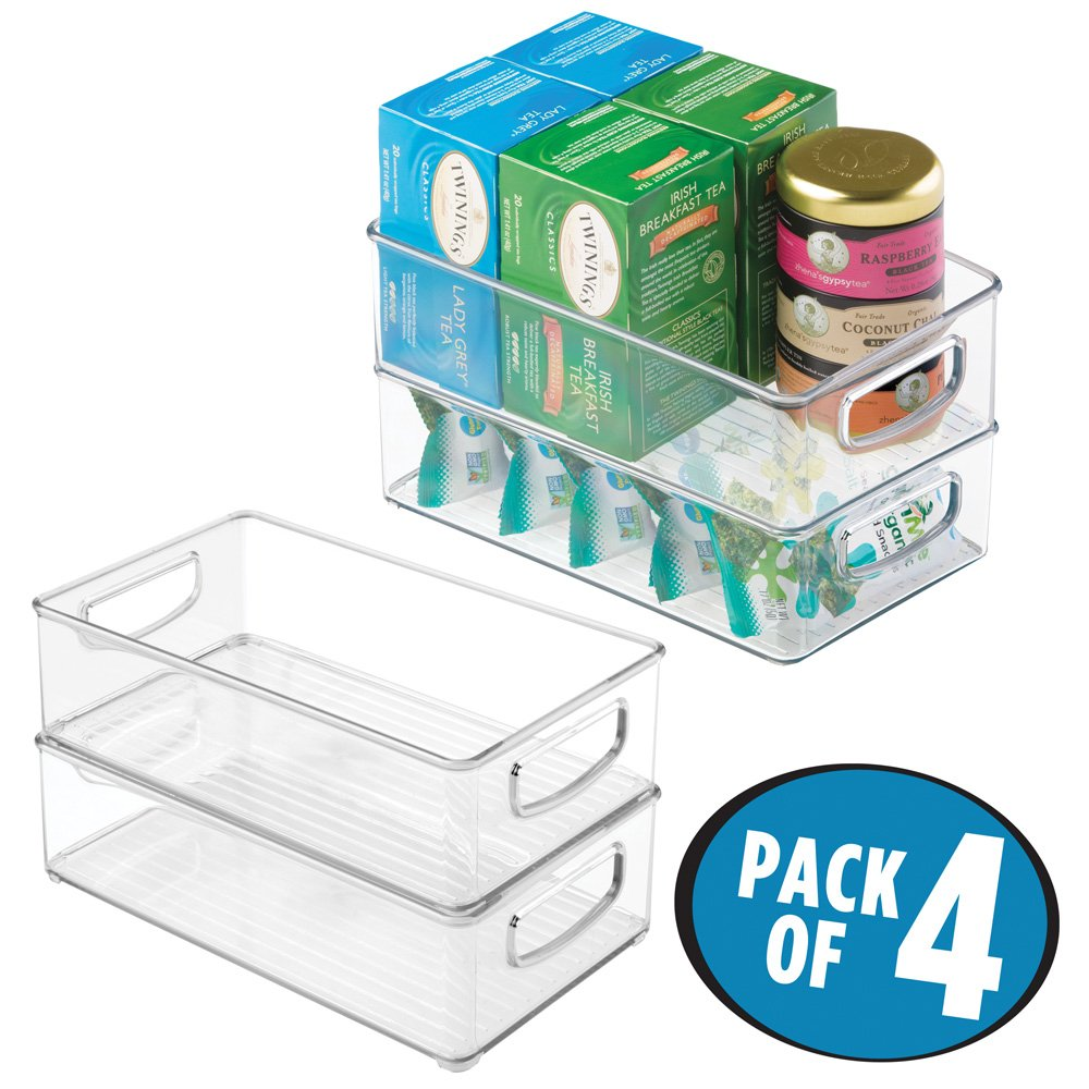 "mDesign Plastic Kitchen Pantry Cabinet, Refrigerator or Freezer Food Storage Bins with Handles - Organizer for Fruit, Yogurt, Snacks, Pasta - Food Safe, BPA Free, 10"" Long - 4 Pack, Clear"