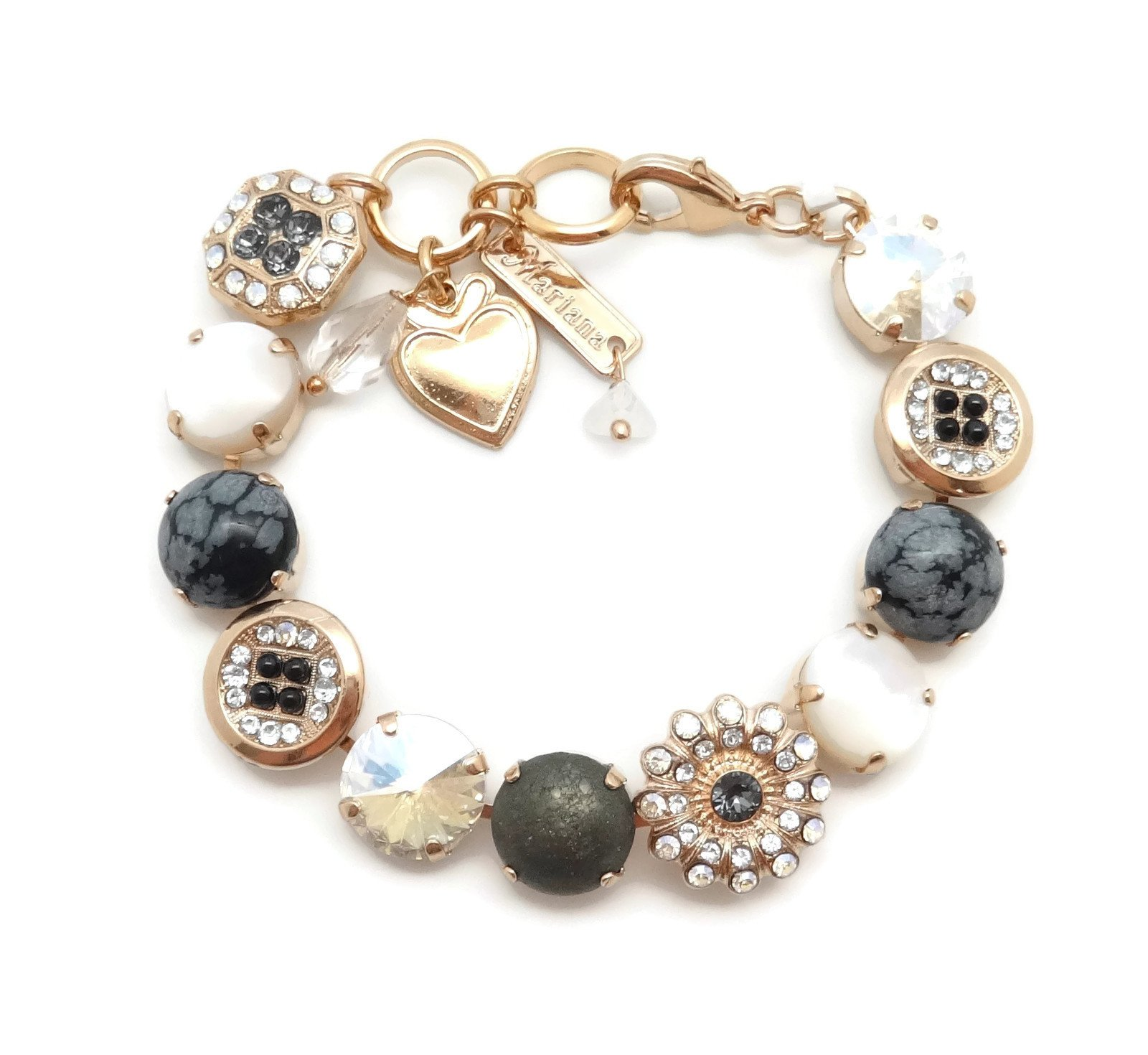 Mariana Rose Gold Plated Swarovski Crystal & Mineral Stone Bracelet Black Grey & White Mosaic M1080 Zulu