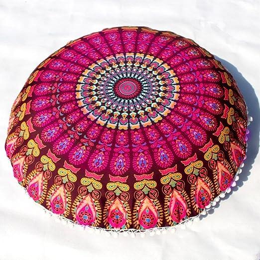 VJGOAL Mandala India Redonda Bohemio Funda de Almohada decoración del hogar Funda de cojín Suave(40_x_40_cm,Multicolor2)