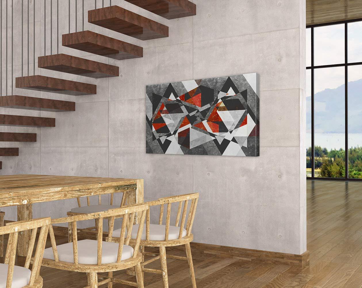 Black and White Geometric Abstract Art Decor Vertex Red