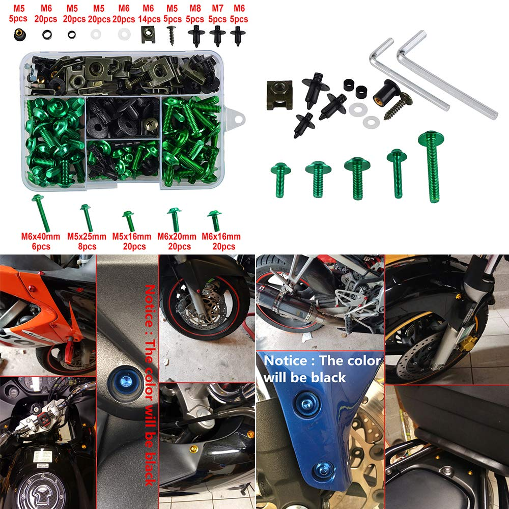 ZG1400B 2009,Ninja 650R EX650C 2010,EX650J 2008,EX650A 2006 H2Racing Moto Complete Fairing Tornillos tornillos Kit pour Concours 14 ZG1400A ABS 2016,1400C ABS 2012-2014