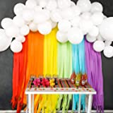 JOYYPOP Rainbow Party Decorations with White Balloon Garland and Rainbow Crepe Paper Streamers for Rainbow Baby Shower…
