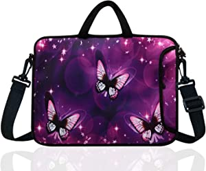 "17-Inch to 17.3-Inch Neoprene Laptop Shoulder Messenger Bag Case Sleeve For 16 16.5 17 17.3"" Inch Acer/Asus/Dell/Lenovo/HP/Macbook (Purple Butterfly)"
