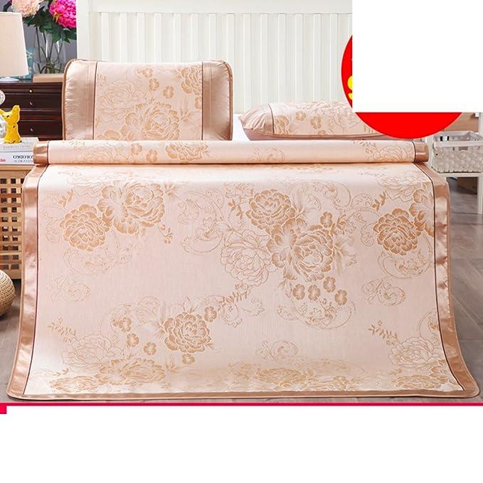 Tapis en soie de glace d'été trois pièces/imprimez un tapis pliable plus épais(1mat +2taie d'oreiller)-B Queen1