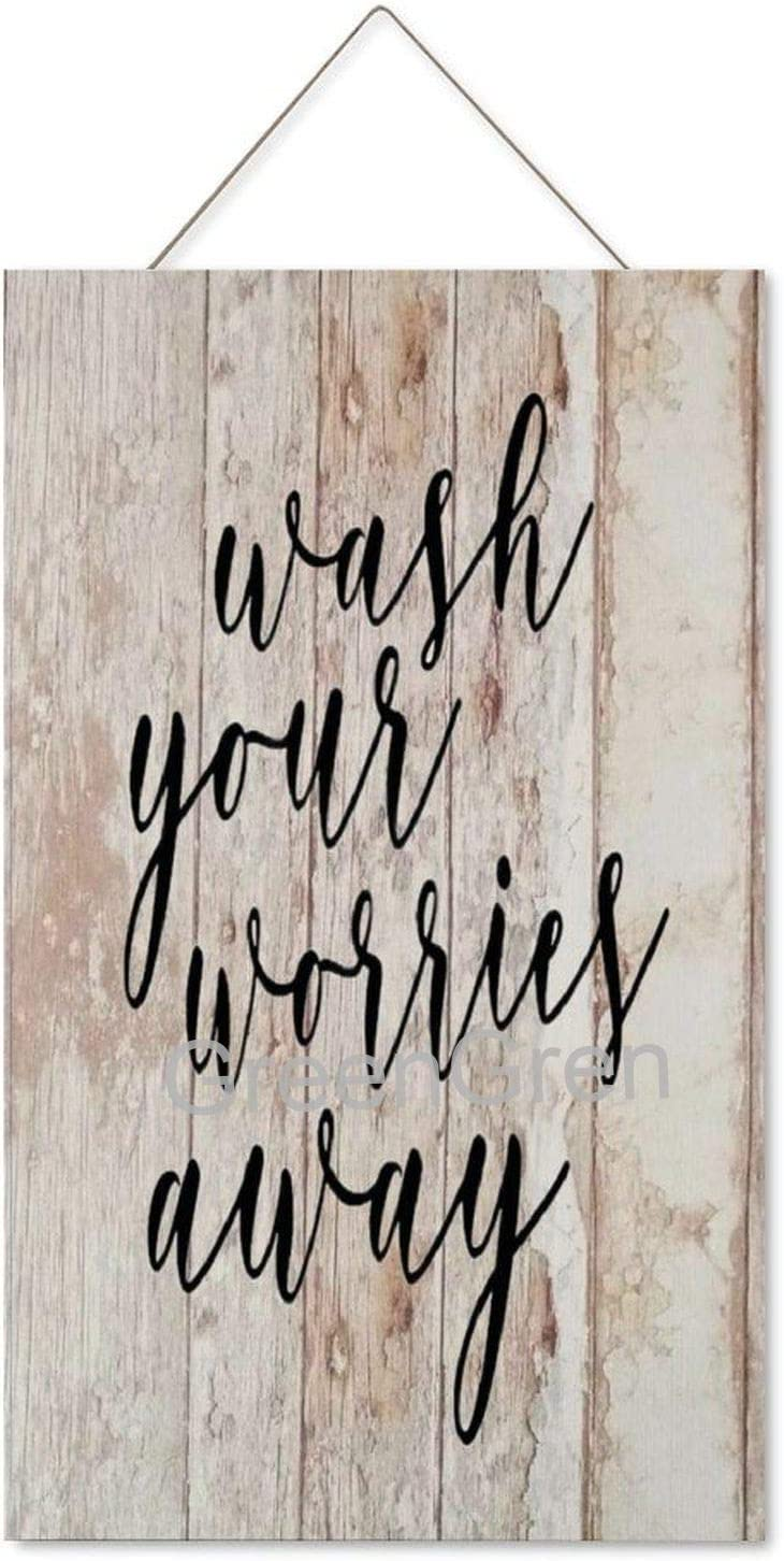 Wooden Rustic Farmhouse Wall Sign- Wash Your Worries Away, Wall Decor Prints for Home Decoration 12