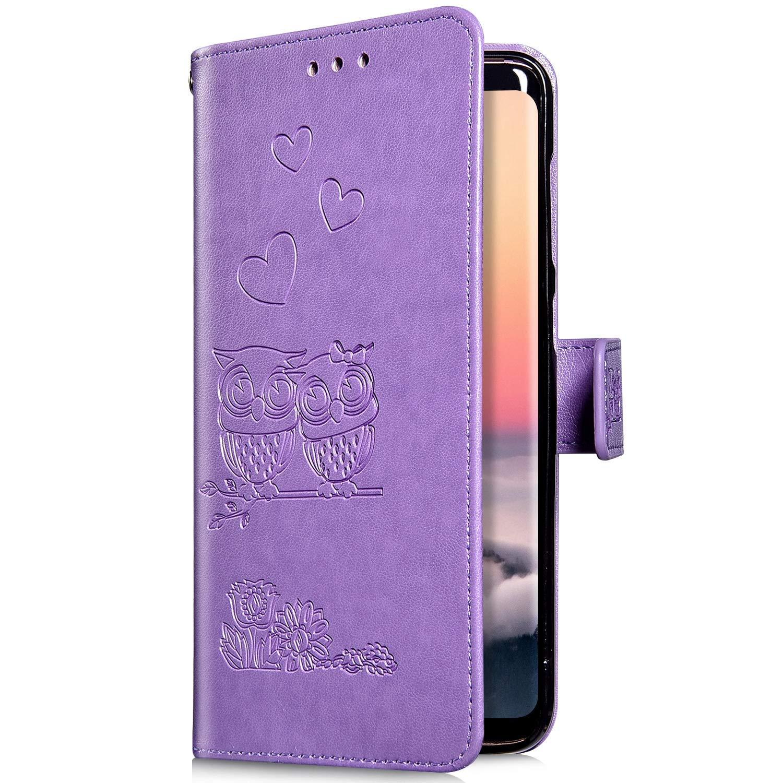 Herbests Pelle Cover compatibile con Samsung Galaxy S8 Plus Custodia Portafoglio Elegante Retr/ò Gufo Coperture con Funzione di Supporto e ID Slots Wallet Case Cover Chiusura Magnetica,Verde