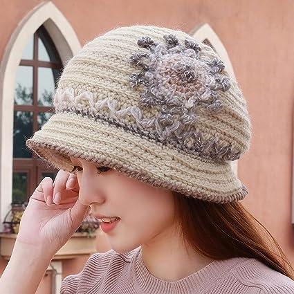 XINQING-MZ Hat mujer otoño invierno tejer tejer sombrero Cuenca cap cap mano suave a