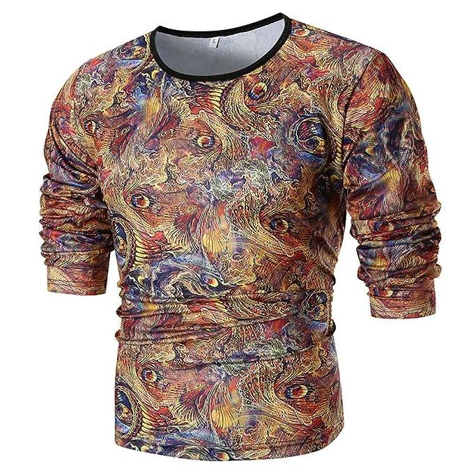 Bestow Personalidad de los Hombres de Moda Slim Fit Camisa Manga Larga Impresa Top Blusa: Amazon.es: Ropa y accesorios