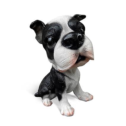 Ornerx 5.5u0026quot; H Resin Dog Figurine Statue For Garden Home Decor Boston  Terrier