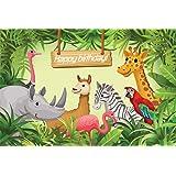 AIIKES 2.1Mx1.5M/7x5piedi Compleanno Sfondo Fotografico Giungla Safari Animali Fotografia di Sfondo Bambino Ragazzo Festa Decorare Studio Fotografico 11-091