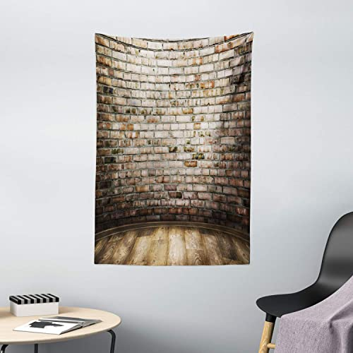Ambesonne Brick Wall Tapestry, Room Interior with Wood Floor Vintage Faded and Stained Brick Print, Wall Hanging for Bedroom Living Room Dorm Decor, 40 X 60 , Tan Umber