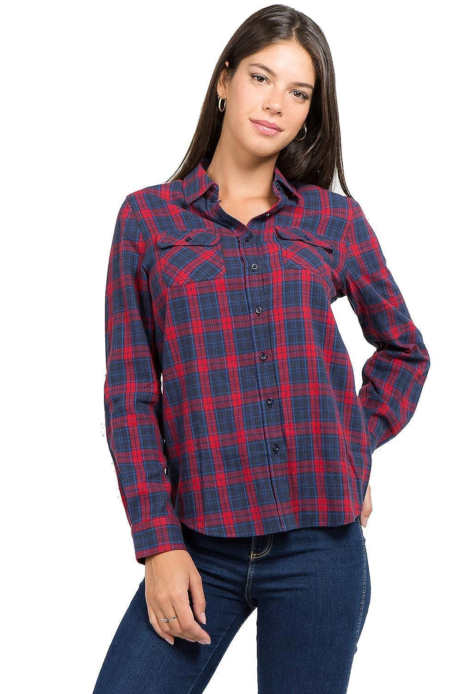 2300 muselooks Women's LongSleeve Button Up ClassicFit Lightweight Plaid Flannel Shirt Red