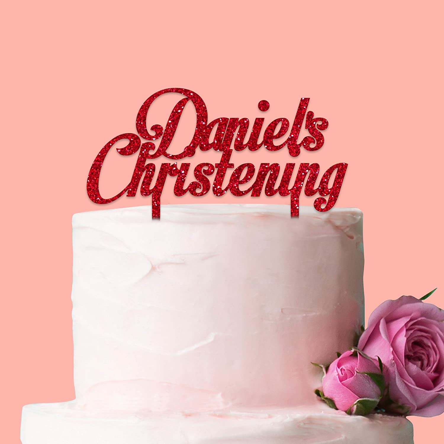 Personalised Christening Cake Topper: Motion Picture Font: Glitter Blue Acrylic Fancy Pants Store