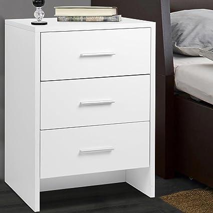 Voilamart, comodino, tavolino per camera da letto con 3 cassetti, maniglie  in alluminio e guide, 58 x 40 x 35.5cm(bianco)