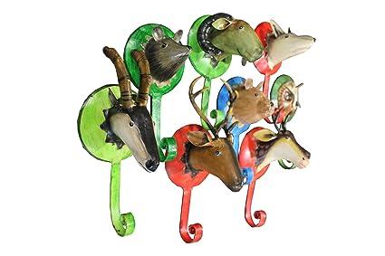 Conjunto de 8 perchero pared trofeo de animales artesanía ...