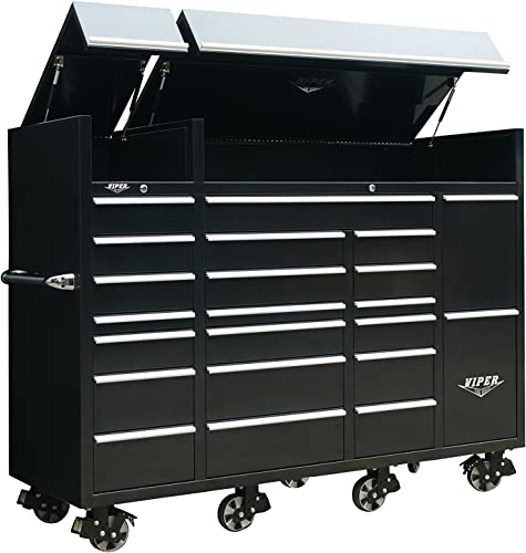 Viper Tool Storage VXXL86UBBL 86 22-Drawer Ultimate Tool Box with Pegboard and Work Surface Power Strip, XX-Large, Black