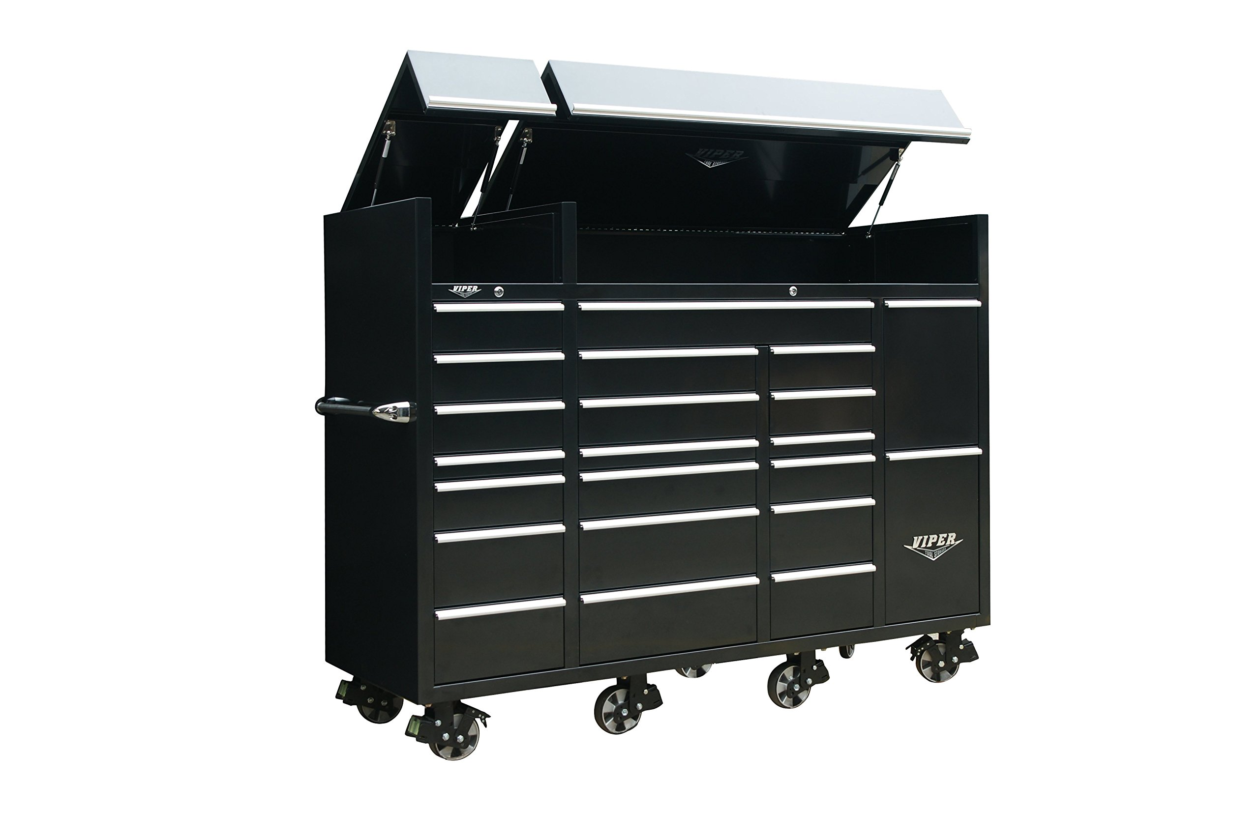Viper Tool Storage VXXL86UBBL 86'' 22-Drawer Ultimate Tool Box with Pegboard and Work Surface/Power Strip, XXL, Black