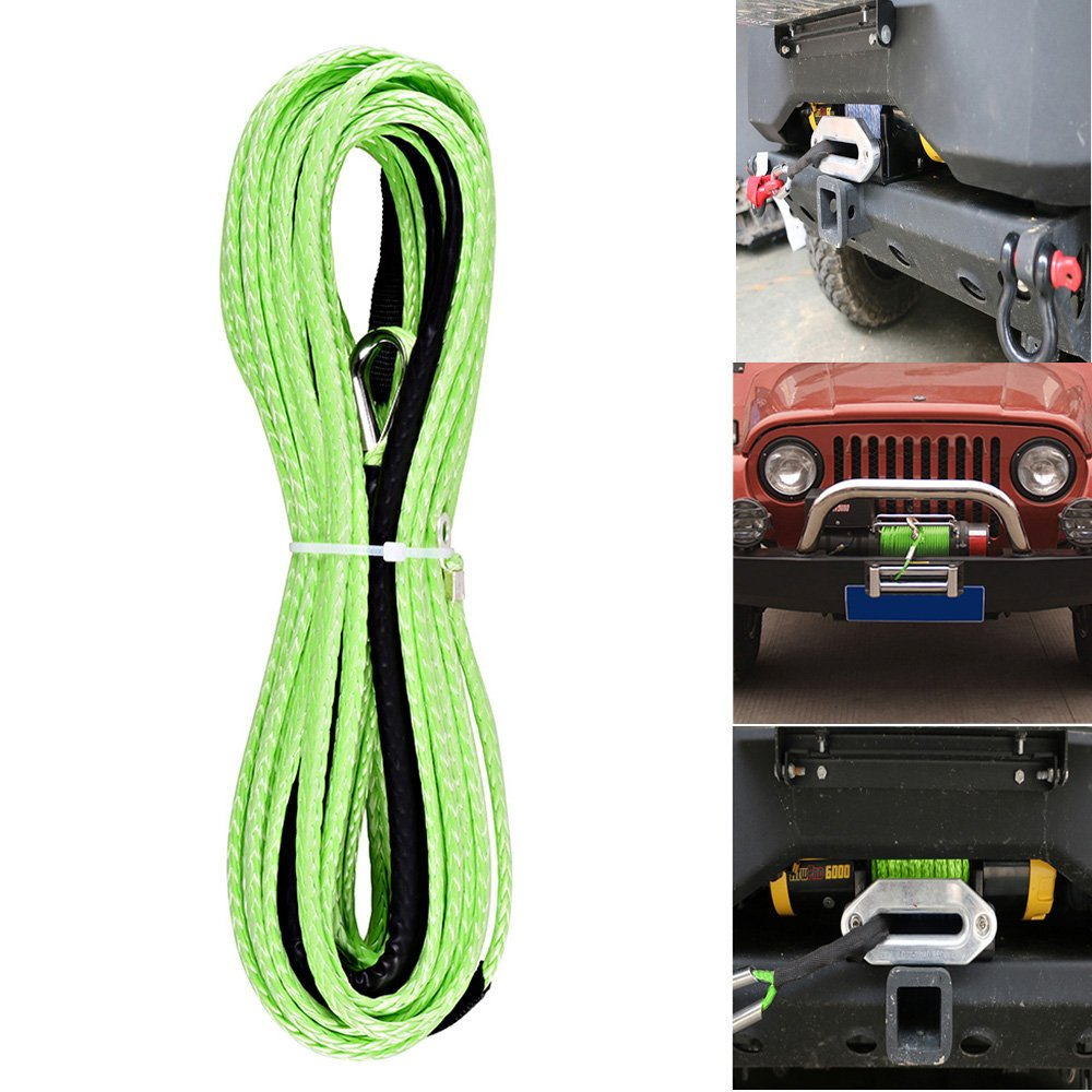 3//16 x 50 5400 Lbs Synthetic Winch Line Rope Replacement Cable for Car UTV ATV SUV Pickup Truck Grey