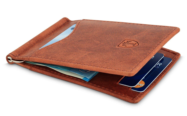 TRAVANDO Portefeuille RFID En Cuir Véritable Et Avec Pince à - Porte cartes sécurisé protection rfid nfc
