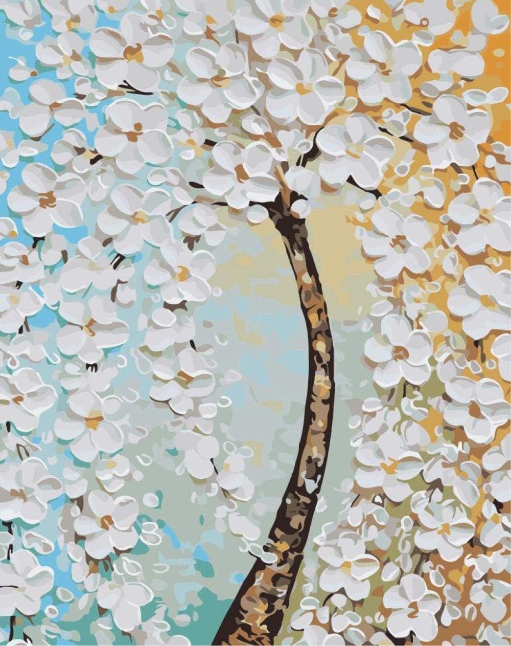 KLBPL Pintar por Numeros Árbol De Flores Blancas Lino Lona–DIY Pintura Al Óleo Decoracion De Pared Regalos Sin Marco 40,6X50,8 Cm con Pinturas Acrílicas Y 3 Pinceles