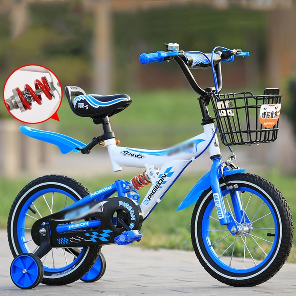 PJ 自転車 トレーニングホイールとバスケット付きのガールズバイク、子供のための完璧なギフト。 12インチ、14インチ、16インチ、18インチ、イエローブルーレッド 子供と幼児に適しています ( 色 : 青 , サイズ さいず : 16 inch ) B07CQYK55M 16 inch|青 青 16 inch