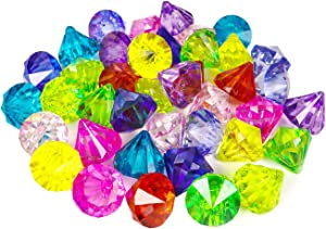 HAPTIME 40 Pcs Big Acrylic Diamond Artificial Gems Pirate Treasure for Home Decoration, Table Scatters, Vase Fillers, Event, Wedding, Party, Birthday Decor