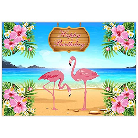 Allenjoy 7x5ft Lets Flamingle Flamingo Hawaiian Birthday Party Banner Backdrop Background Photo Booth Dessert Table Tropical