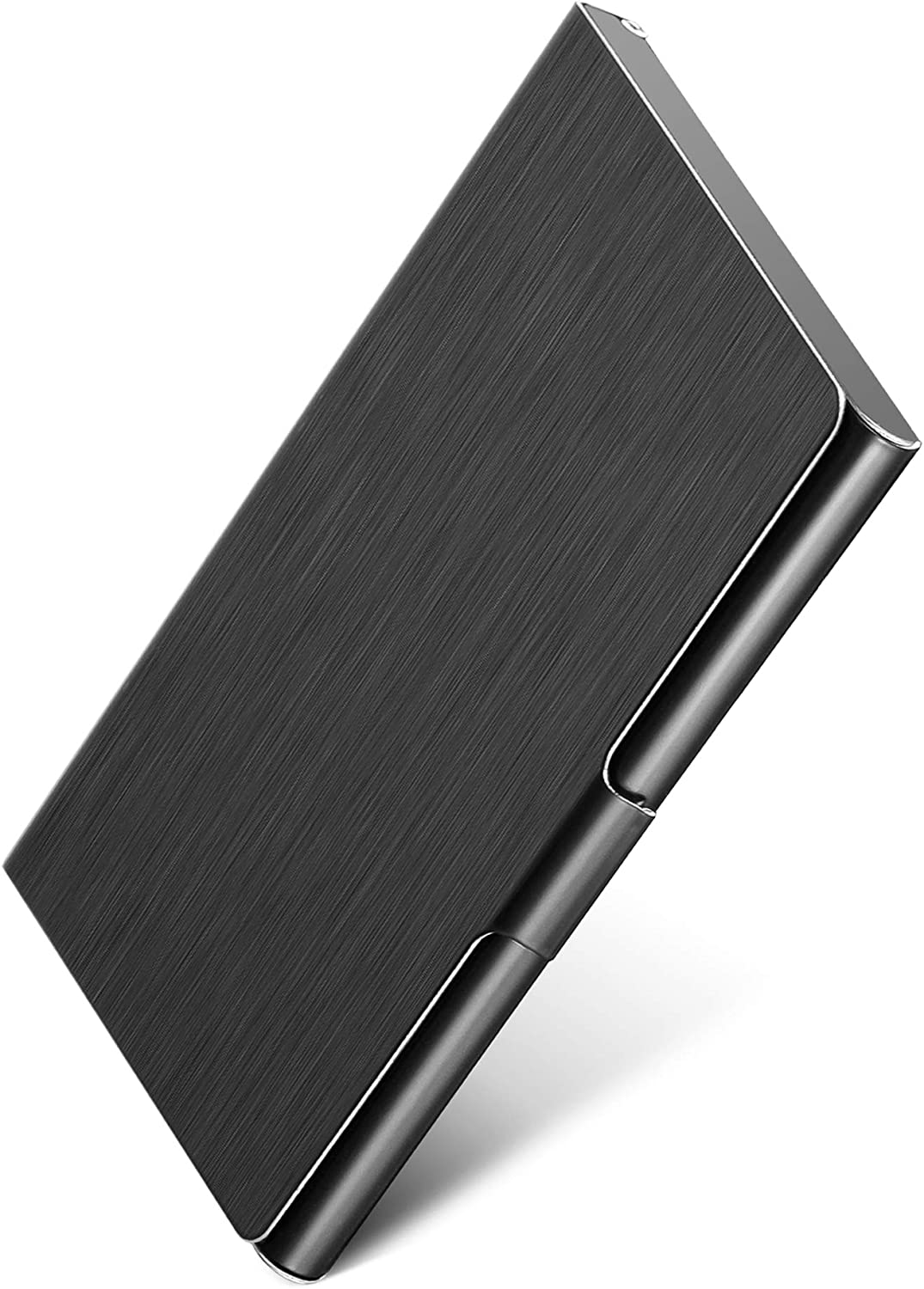 MaxGear Metal Business Card Holder for Men & Women, Pocket Business Card Case Slim Business Card Wallet Business Card Holders Name Card Holder, 3.7 x 2.3 x 0.3 inches, Stainless Steel, Black