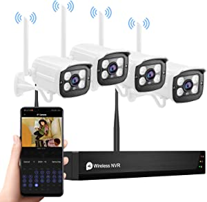 Wireless Security Camera System,1080P 8CH NVR 4Pcs WiFi IP Surveillance Camera for Outdoor Indoor Home/Waterproof/Night Vision/Motion Alert/Remote Access,NO Hard Drive