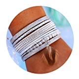 17mile Multi-Layer Leather Bracelet - Braided Wrap Cuff Bangle Alloy Magnetic Clasp Handmade Jewelry Women,Girl Gift