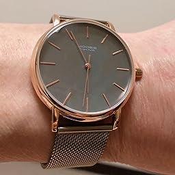 Amazon Co Jp 腕時計 メンズ時計 シンプル ビジネス ファッション 超薄型 軽量 防水 アナログ クォーツ時計 ミニマリスト ステンレス鋼 メッシュバンド ブルー ダークブルー ローズゴールド Watch 腕時計