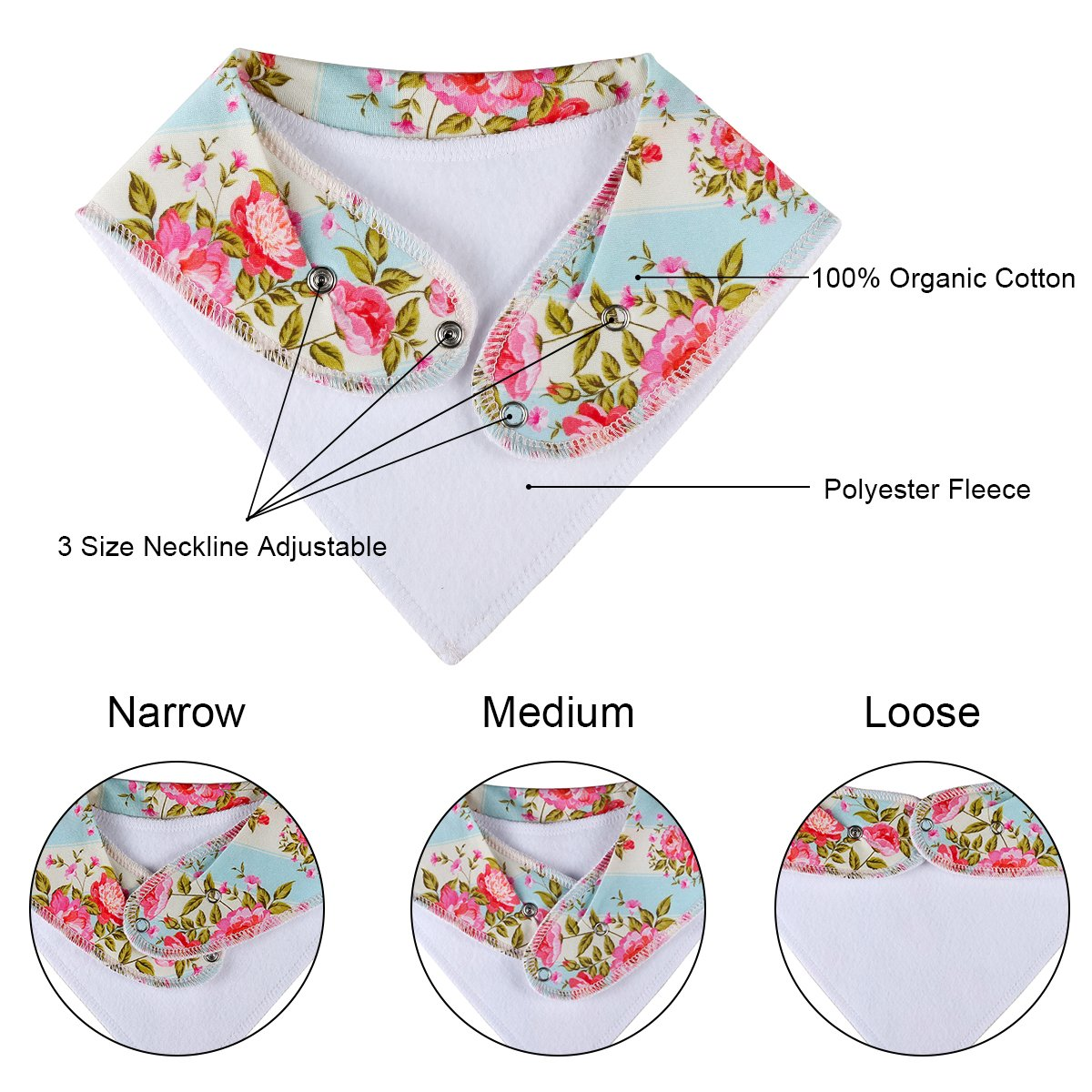 """10-Pack Baby Bandana Bibs Upsimples Baby Girl Bibs for Drooling and Teething, 100% Organic Cotton and Super Absorbent Hypoallergenic Bibs Baby Shower Gift - """"Blossom Set"""" by upsimples (Image #8)"""