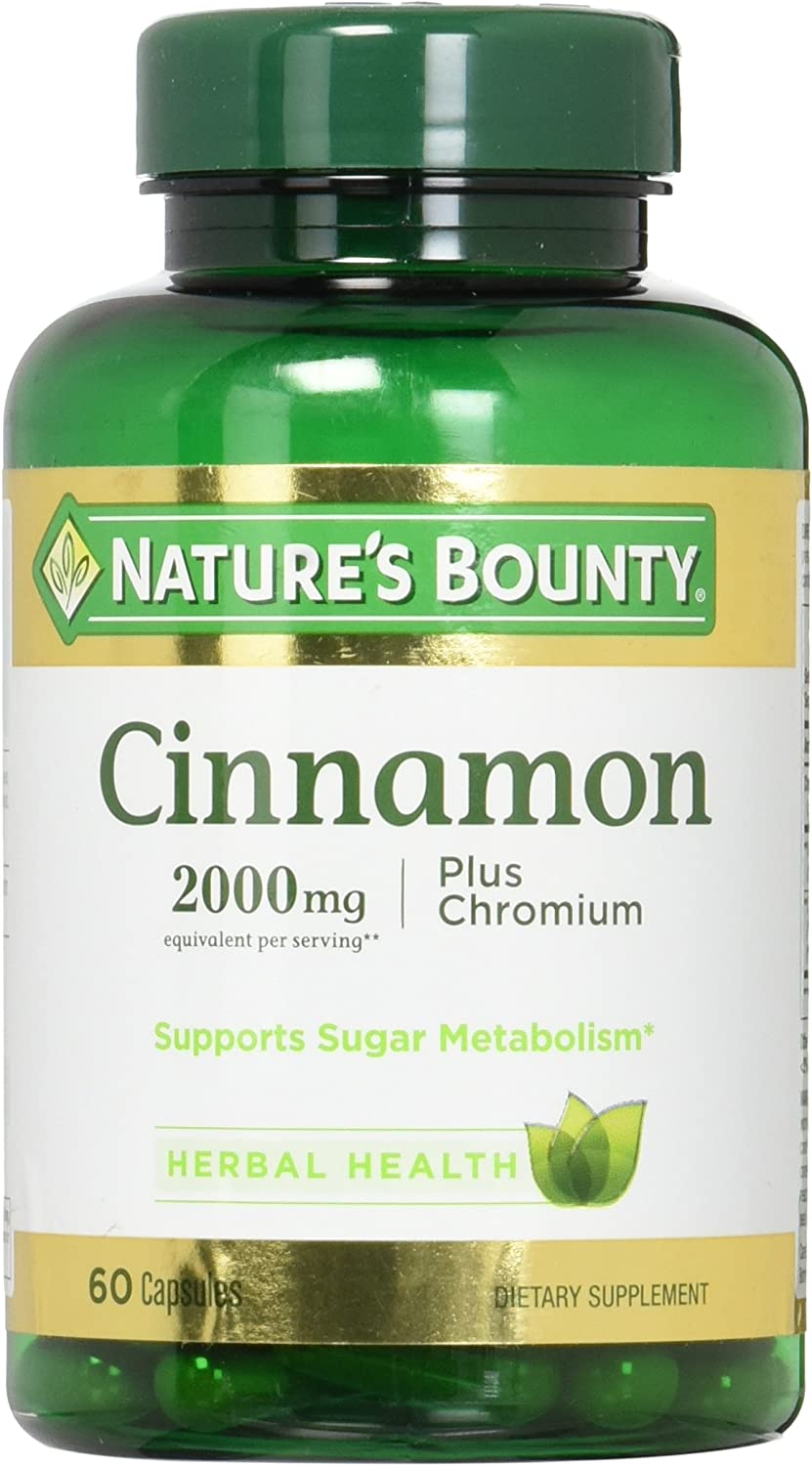 Nature's Bounty Cinnamon Pills and Chromium Herbal Health Supplement, Promotes Sugar Metabolism and Heart Health, 2000g, 60 Capsules
