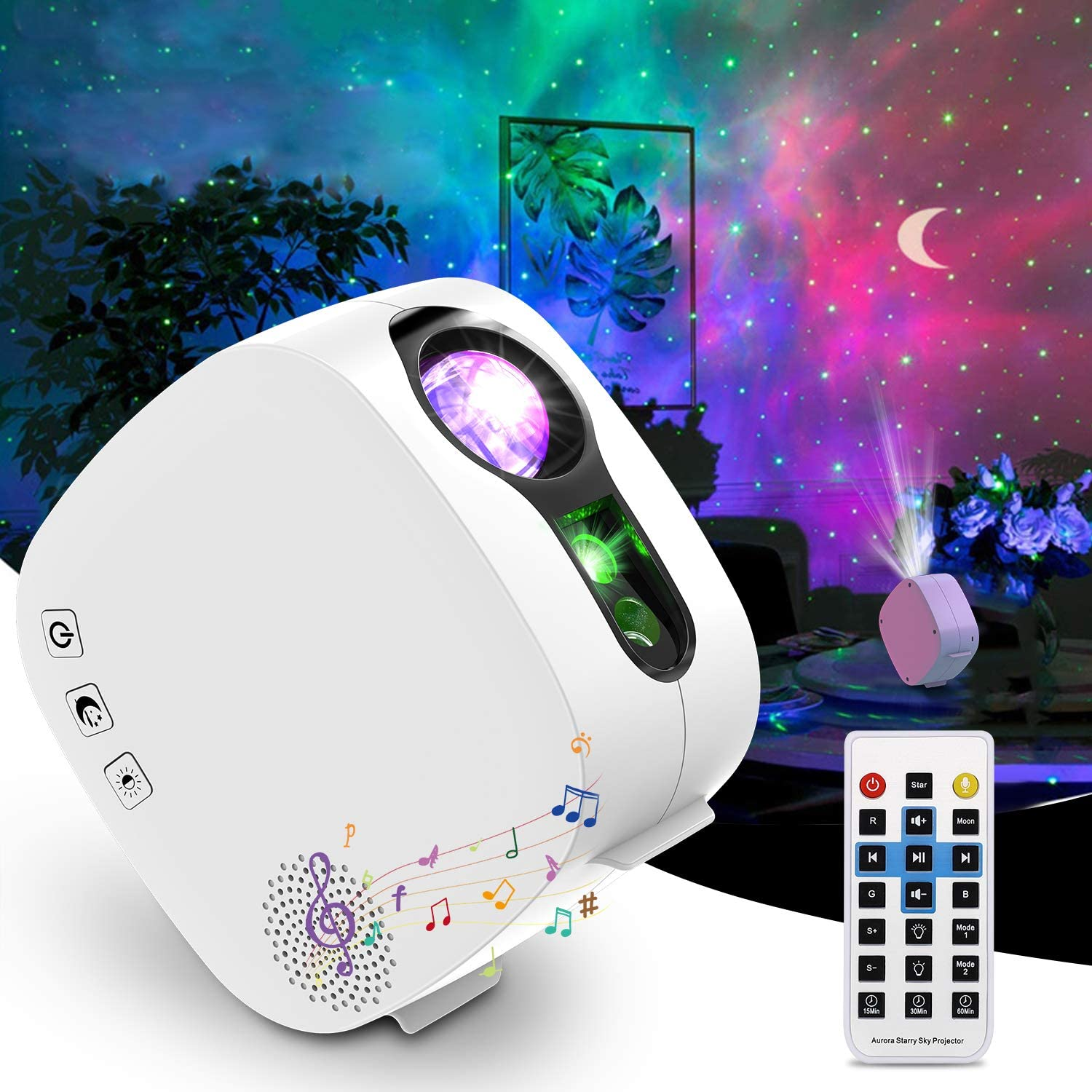 Galaxy Projector Night Light Projector with Bluetooth Speaker, Starlight Projector with Remote Control, Timer Setting, Nebula Light Projector for Baby/Kids/Adults/Home Theatre