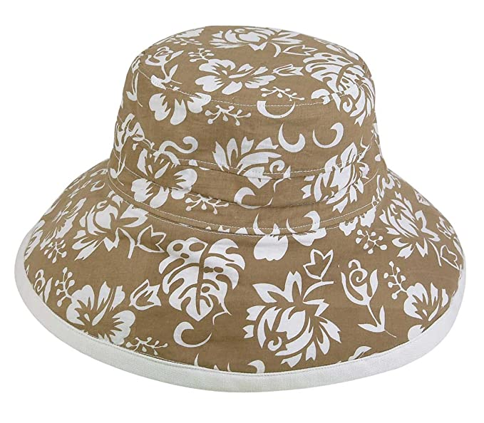 Womens New Floral Bucket Hat Cotton Canvas Reversible Sun Hat in Khaki and  White 1d1e31af010