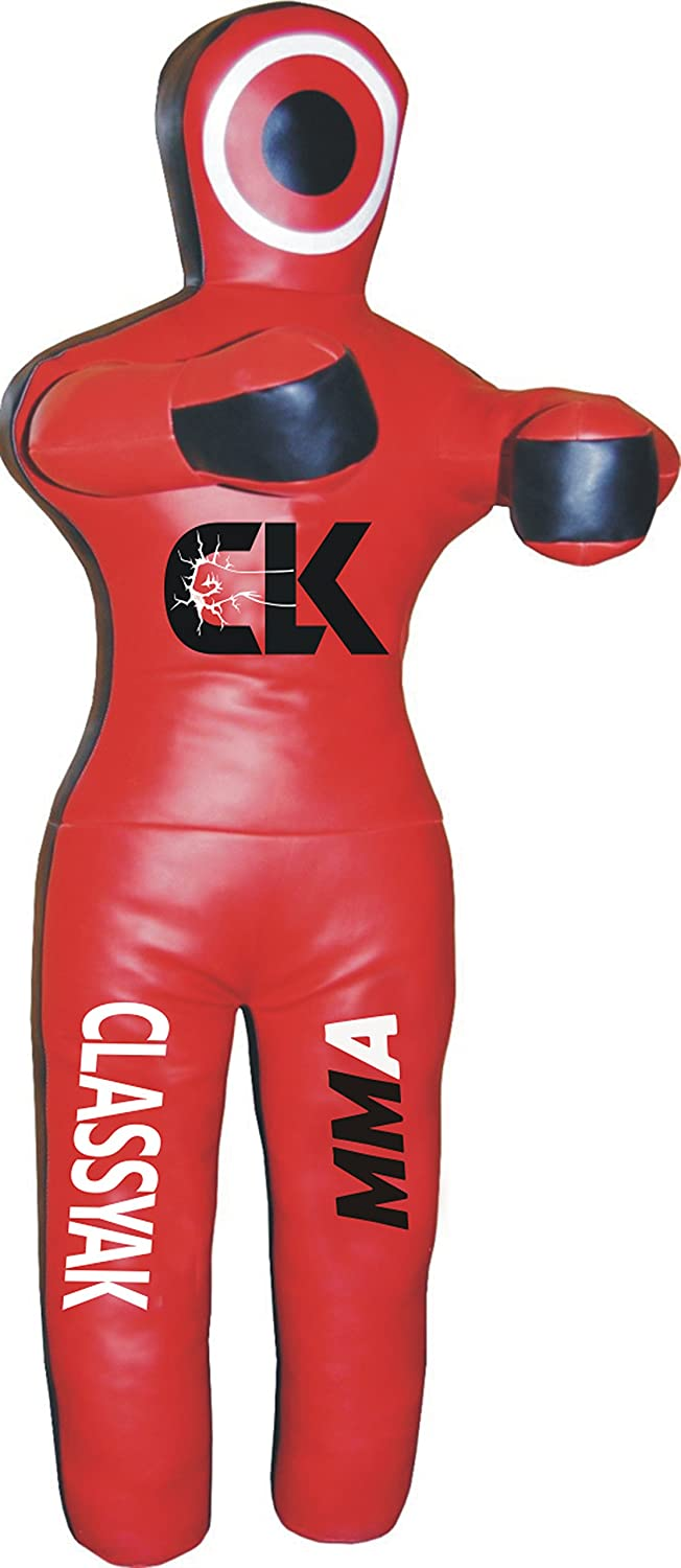 Classyak MMA Martial Arts Standing位置GrapplingダミーJiu Jitsu Punching Bag – Unfilled B076VVN49D Synthetic Leather Red 70 inches (6 ft)