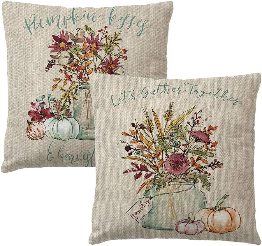 7COLORROOM Set of 2 Vintage Autumn Pillow Covers Watercolor Pumpkin/Flower Cushion Cover Farmhouse Harvest Thanksgiving Day Home Decoration Pillowcases 18
