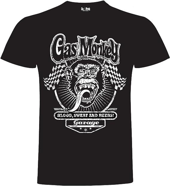Gas Monkey Garage T Shirt Two Flags Black L Bekleidung
